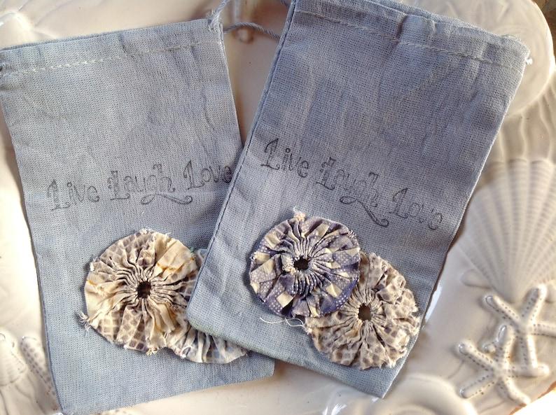 Treasure Trinket Drawstring Bag Live Laugh Love Wedding Something Blue Embellished w 1930/'s Vintage Yoyo/'s -Suffolk Puff Hand Dyed