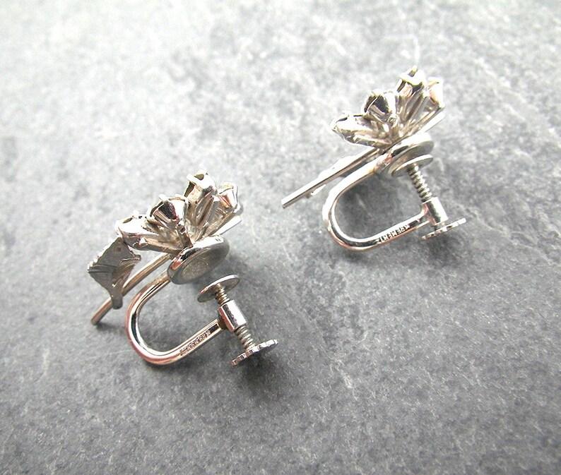 Vintage Krementz Rhinestone Flower Earrings Rhodium Plated Flower Design