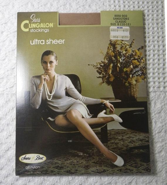 10-11 Vintage Sears Hosiery Nylons Stockings  Mocha Brown Size B Sears Cling-alon