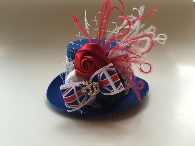 d1f097f95e8 Union Jack Hat Fascinator Baby Girls Headbands And Hairbows