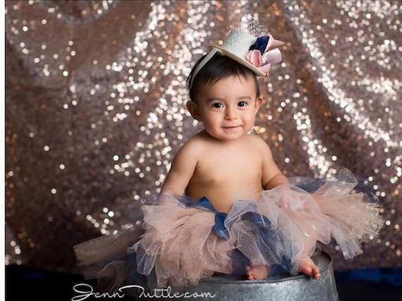b74e4415c3f Smash Cake Outfit Girl Rose Gold Navy Tutu Baby Girls First