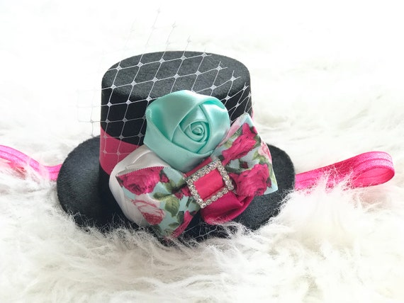 Mad Hatter Fascinator Top Hat Mini Top Hat Birthday Party  d0a850f09fb