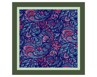 """14"""" x 14"""" Blue and Pink Paisley Pillow Cover Cross Stitch Pattern"""