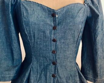 Pretty Birdie's Vintage Denim Blouse