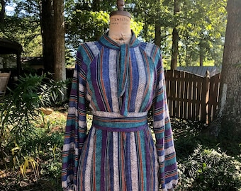 Pretty Birdie's Dress of many Colors- made from Vintage textiles