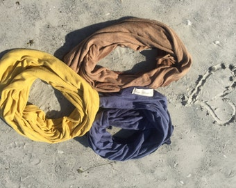 HEMP and ORGANIC Cotton Knit Circle Scarf (Hand Dyed) made to order