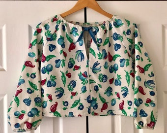 Pretty Birdie's Blue Banana Blouse made from Vintage fabric one of a kind