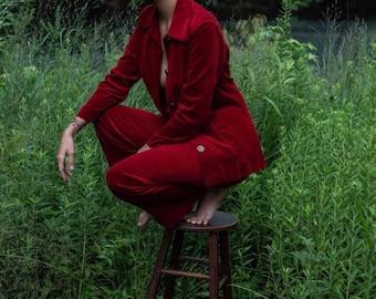 Vintage Red Velvet Suit