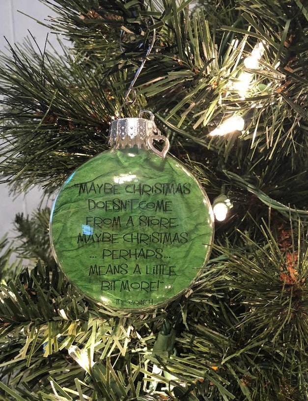 Glass Flat Ornament Green Paper Grinch Quote