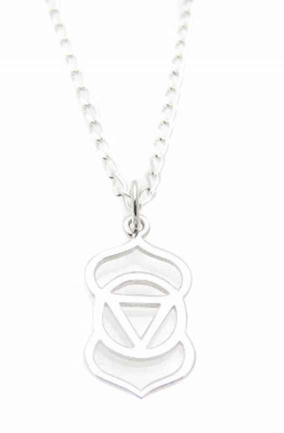 6th Third Eye Chakra Symbol Charm Sterling Silver Necklace Etsy