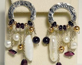 Sterling 925 Baroque Pearl & Amethyst Earrings Statement Jewelry