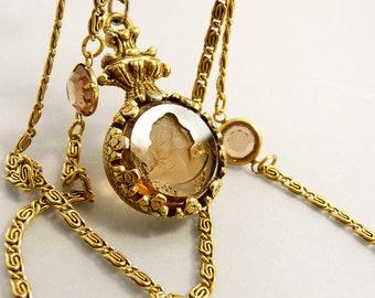 Vintage Goldette NY Triple Strand Intaglio Glass Cameo Necklace