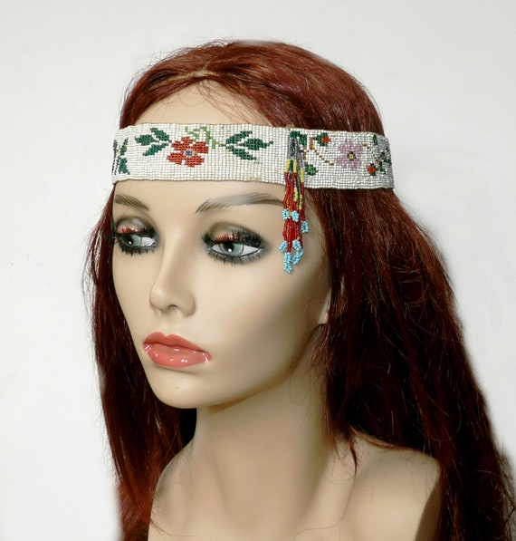 Antique Art Deco Flapper Seed Bead Headband
