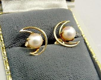 Vintage 14K Gold Moon & Cultured Pearl Earrings