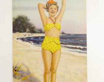 Vintage Bathing Beauty Postcard WMW Linen Litho