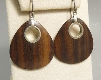 Silpada Sterling 925 Sonokeling Wood Earrings Modernist Design