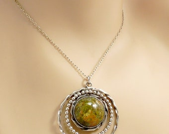 Vintage Sterling & Unakite Pendant Necklace Statement Jewelry