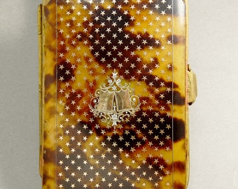 Antique French Faux Tortoise Shell & Gold Inlay Card Case Vest Purse