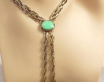 Vintage Trifari Renaissance Jade Green Lariat Necklace