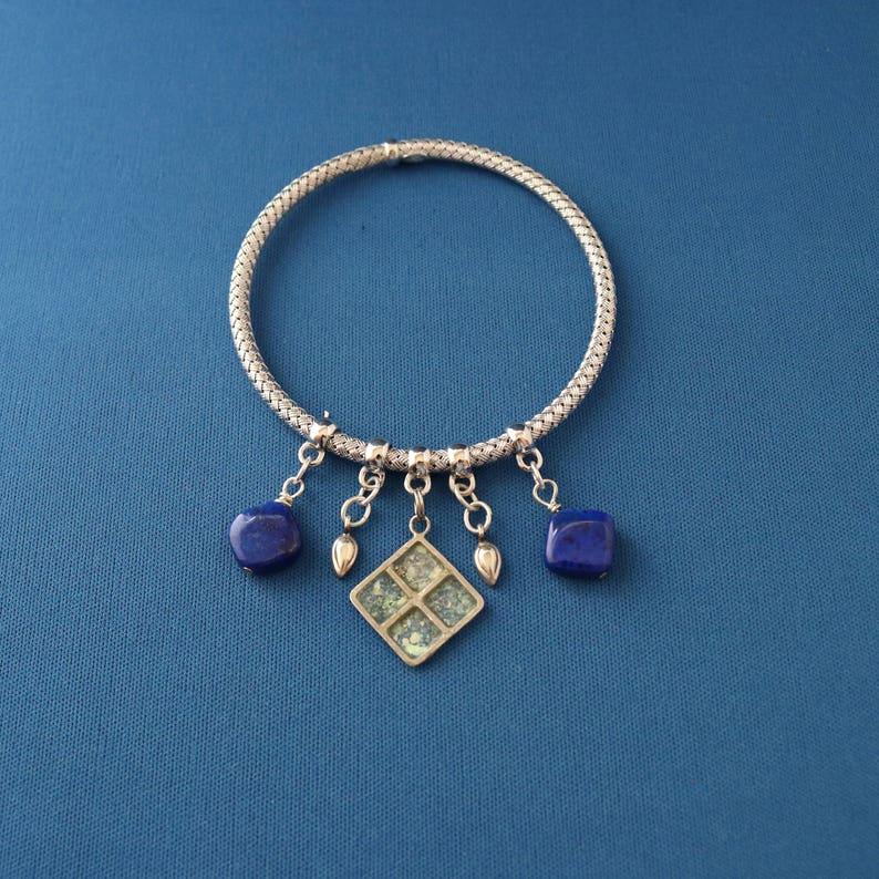 Roman Glass /& Silver Bracelet Lapis Lazuli Bracelet Lapis Lazuli Bangle Bracelet Silver Bangle Roman Glass Bracelet Ancient Roman Glass