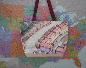 Tote bag made from St. Paul Capital of the Mississippi billoard