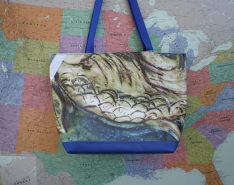Tote bag made from an banner advertising American Swedish Institutes Handmade Tile .