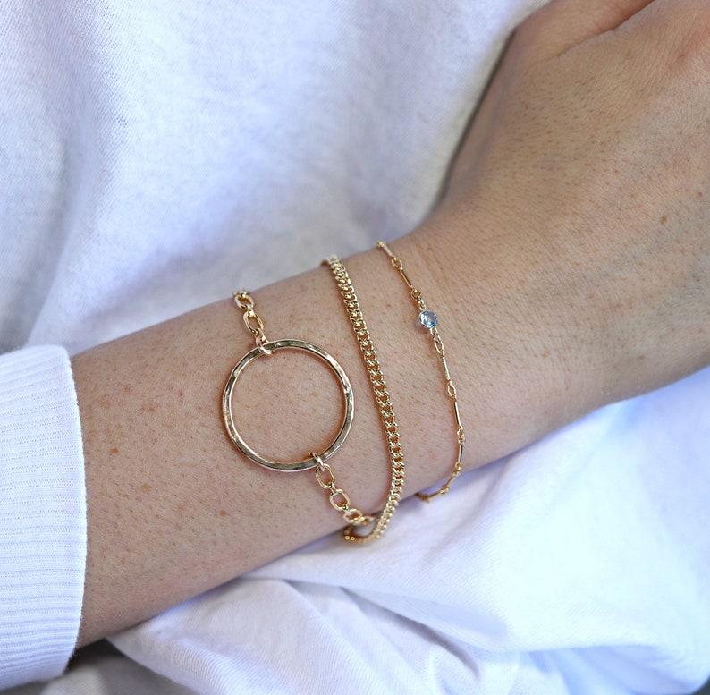 Karma Circle Bracelet Hammered Gold Open Circle Bracelet Mothers Day Gift Gold Eternity Bracelet Gold Filled Chain Bracelet