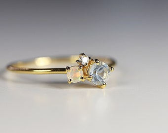 Dainty Cluster Ring, Gemstone Promise Ring, Multi Gemstone Ring, Aquamarine, Opal, Diamond Cluster Ring, Birthstone Ring, Mom Gift