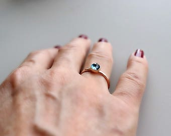 London Blue Topaz Ring - 14k Rose Gold Topaz Ring - Stackable Ring - Gift For Women - Engagement Ring. Mom Ring - Mothers Gift