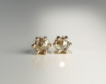 Champagne Diamond 6 Prongs Stud Earrings, Rose Cut Diamond Earrings, 14k Gold Stud Earrings, Unique Minimal Natural Diamond Studs