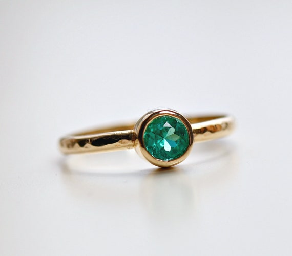 Natural Emerald Ring,Solid 14K Gold Ring,May Birthstone Ring,Anniversary Gift,Engagement Ring,Mother/'s Gift,Gift For Her,Handmade Ring