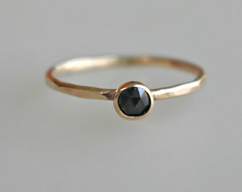 Black Diamond Engagement Ring - 14k Gold Diamond Ring - Rose Cut Black Diamond Ring - Unique Engagement Ring, Hammered Gold Ring