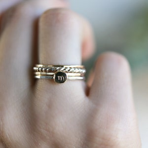 oxidized sterling silver personalized ring 5mm pebble ring stacking ring handmade ring recycled sterling silver Initial hammered ring