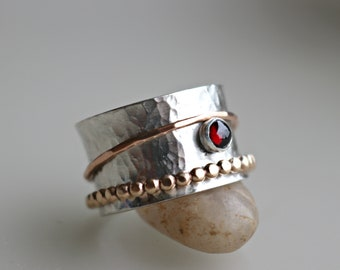 Garnet Spinner Ring, Meditation Ring, Garnet Fidget Ring, Spinning Ring, Gold Spinner Ring, Fiddle Ring,  Boho Ring, Bohemian Jewelry