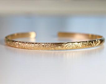 Floral Bangle Bracelet Gold Filled, Mothers Day Gift, Open Cuff Bracelet Art Nouveau, Thick Gold Open Bangle Bracelet, Mom Gift