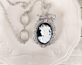 Shabby Opera Length Cameo Rhinestone Pendant Statement Necklace
