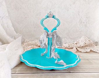 Shabby Lagoon Blue Vintage Metal and Rhinestone Jewelry Tray