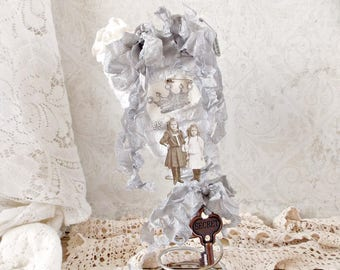 Shabby Silver and White Chenille Fabric Heart Mixed Media Assemblage Art