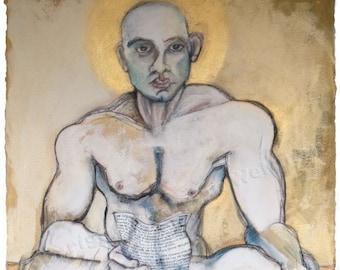 Erotic Art Print, Male Nude,  - The Buddha, The Christ, The Poet