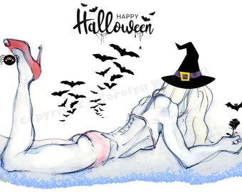 NEW! Blue Witch With a Black Rose - Halloween Card