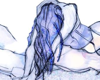 Erotic Art Print, Lovers, Mature  - He's All Mine