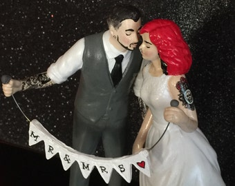 Tattooed Wedding Cake Topper . Bride and Groom Tattoos . Custom Painted and Personalized to Resemble You with Banner