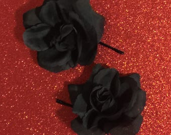 Black Rose Hairpins ~ Dark Pinup Retro Flower Hair Accessories