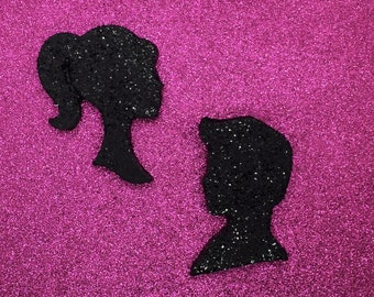 You're A Doll! Retro Boy & Girl Glitter Silhouette Wall Hangings in Custom Colors