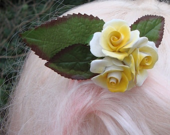 Ceramic Yellow Rose Hair Comb ~ OOAK Upcycled Vintage Pinup Hair Accessory