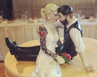 Custom Tattooed Wedding Cake Topper ~ Sitting Position