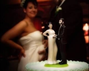 Tattooed and Expecting Wedding Cake Topper . Custom Painted Pregnant Bride Personalized to Resemble You