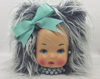Miss Tissue Head . Retro Doll Face Tissue Box Cover ~ Gray with Light Blue Details ~ Ready to Ship!