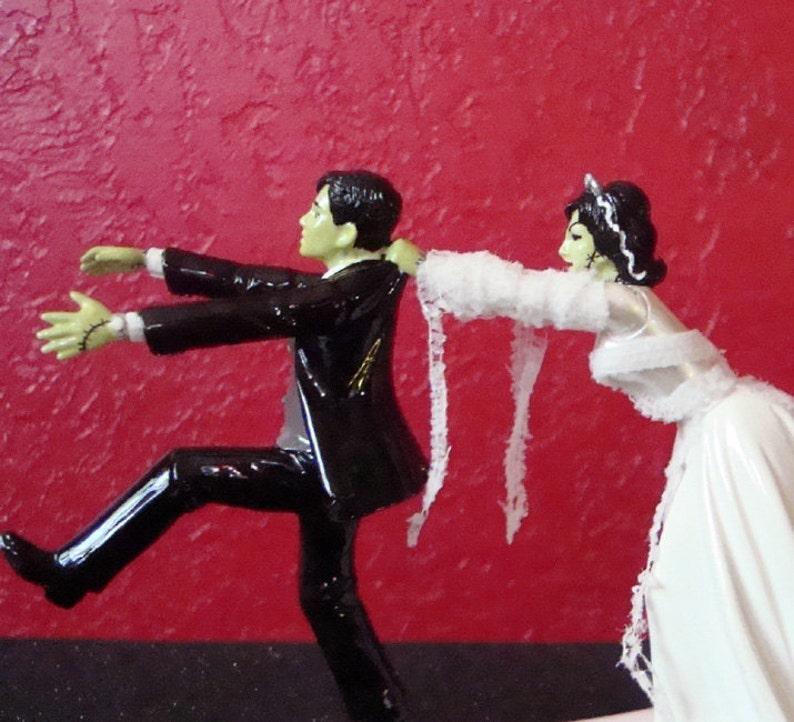 Frankenstein & Bride Wedding Cake Topper  Ready to Ship image 0