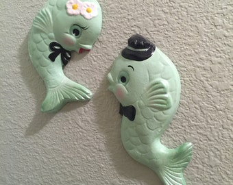 Custom Mr. & Mrs. Fish ~ Retro Chalkware Wall Plaques